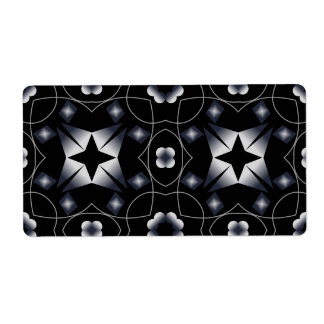 Cool Black Shining Star and Flower Kaleidoscope Personalized Shipping Labels
