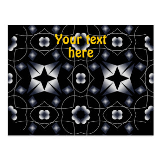 Cool Black Shining Star and Flower Kaleidoscope Post Cards