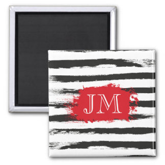 Cool BLACK STRIPES  Brushstrokes + Custom Monogram Magnet