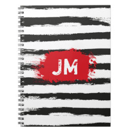 Cool BLACK STRIPES  Brushstrokes + Custom Monogram Notebook