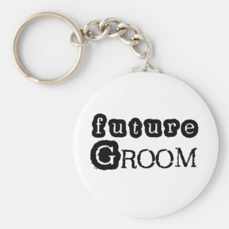 Cool Black Text Future Groom Keychain