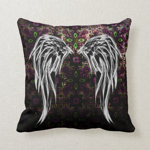 Black Tribal Throw Pillow : Cool Black Tribal Angel Wings Pattern Throw Pillow Zazzle