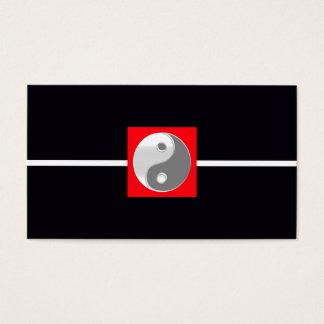 Cool Black White Elegant Wedding Red Yin Yang Chic Business Card