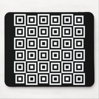 Cool Black White Floating Square Pattern Mouse Pad