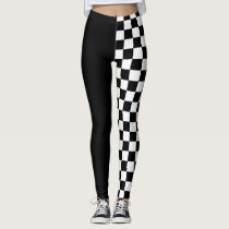 Cool Black White Formula 1 Checkered Flags Pattern Leggings