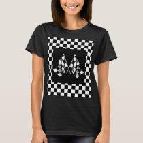 Cool Black White Formula 1 Checkered Flags Pattern T-Shirt