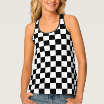 Cool Black White Formula 1 Checkered Flags Pattern Tank Top