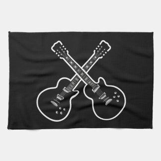 Cool Black & White Guitars Kitchen Towels