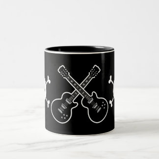 Cool Black & White Guitars & Skulls Coffee Mug
