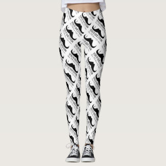 Cool Black White I mustache you a question pattern Leggings