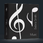 """cool black / white music (musical notes) binder<br><div class=""""desc"""">A graphic and stylish black and white design for musicians or just music-lovers...  to collect photos of your favorite band,  for your school lessons or special lyrics</div>"""