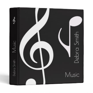 cool black / white music (musical notes) binder