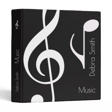 cool black / white music (musical notes) binder