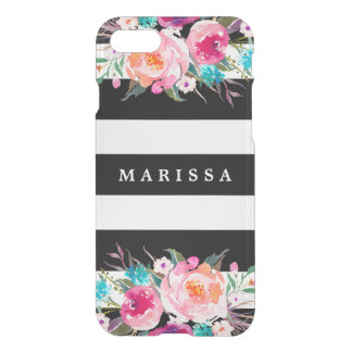 Cool Black White Stripe Pink Floral Watercolor iPhone 8/7 Case
