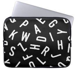 Cool black white typography simple modern pattern laptop sleeve