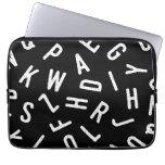Cool black white typography simple modern pattern laptop sleeves
