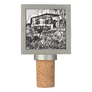 Cool Black White Vintage Carriage Sketch Wine Stopper