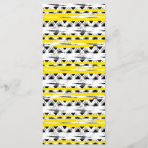Cool Black White Yellow Stripes Tribal Pattern