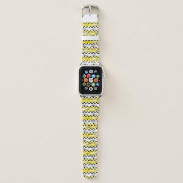 Aztec Themed Cool Black White Yellow Stripes Tribal Pattern Apple Watch Band