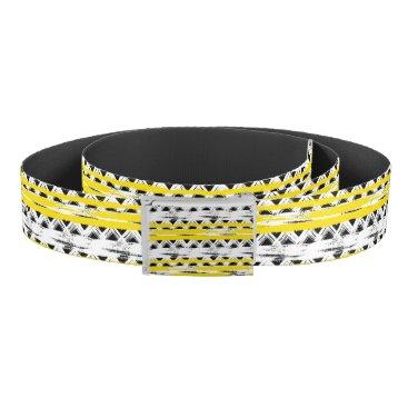 Aztec Themed Cool Black White Yellow Stripes Tribal Pattern Belt