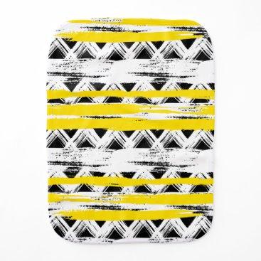 Aztec Themed Cool Black White Yellow Stripes Tribal Pattern Burp Cloth