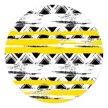 Aztec Themed Cool Black White Yellow Stripes Tribal Pattern Card
