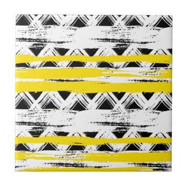 Aztec Themed Cool Black White Yellow Stripes Tribal Pattern Ceramic Tile