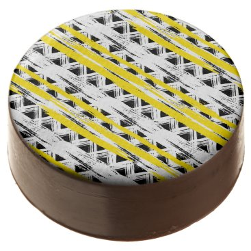 Aztec Themed Cool Black White Yellow Stripes Tribal Pattern Chocolate Covered Oreo