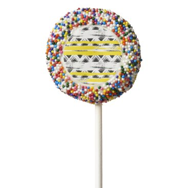 Aztec Themed Cool Black White Yellow Stripes Tribal Pattern Chocolate Covered Oreo Pop