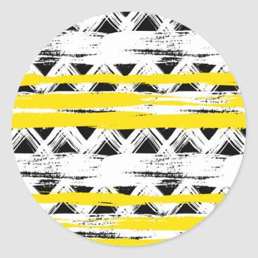 Aztec Themed Cool Black White Yellow Stripes Tribal Pattern Classic Round Sticker