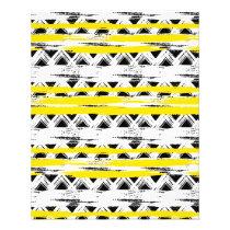 Cool Black White Yellow Stripes Tribal Pattern Flyer
