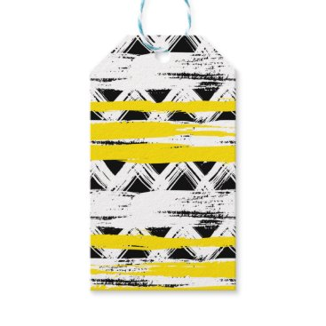Aztec Themed Cool Black White Yellow Stripes Tribal Pattern Gift Tags
