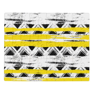 Aztec Themed Cool Black White Yellow Stripes Tribal Pattern Jigsaw Puzzle