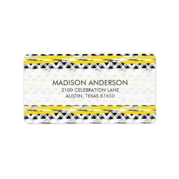 Aztec Themed Cool Black White Yellow Stripes Tribal Pattern Label