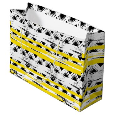 Aztec Themed Cool Black White Yellow Stripes Tribal Pattern Large Gift Bag