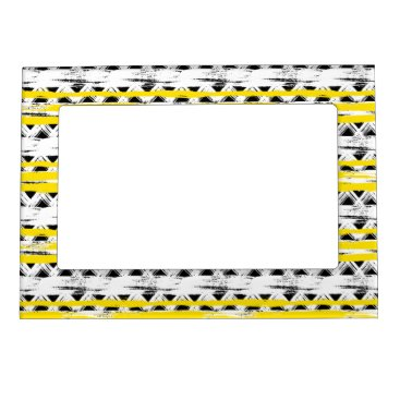 Aztec Themed Cool Black White Yellow Stripes Tribal Pattern Magnetic Photo Frame