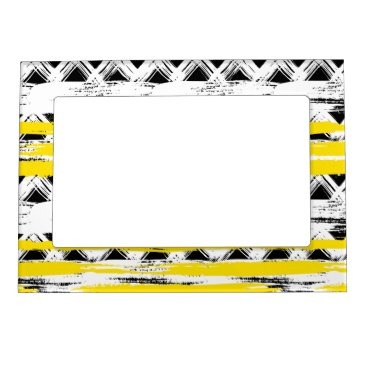 Aztec Themed Cool Black White Yellow Stripes Tribal Pattern Magnetic Picture Frame