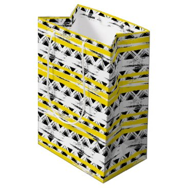 Aztec Themed Cool Black White Yellow Stripes Tribal Pattern Medium Gift Bag
