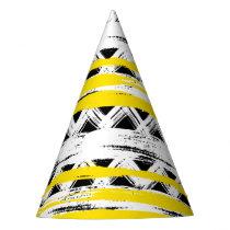 Cool Black White Yellow Stripes Tribal Pattern Party Hat