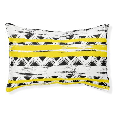 Aztec Themed Cool Black White Yellow Stripes Tribal Pattern Pet Bed