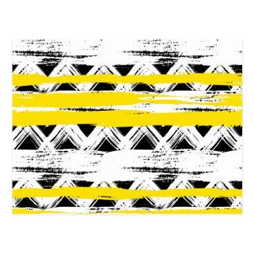 Aztec Themed Cool Black White Yellow Stripes Tribal Pattern Postcard