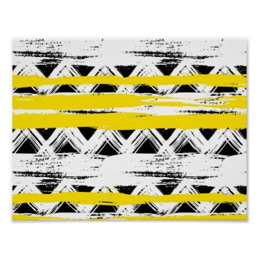 Aztec Themed Cool Black White Yellow Stripes Tribal Pattern Poster