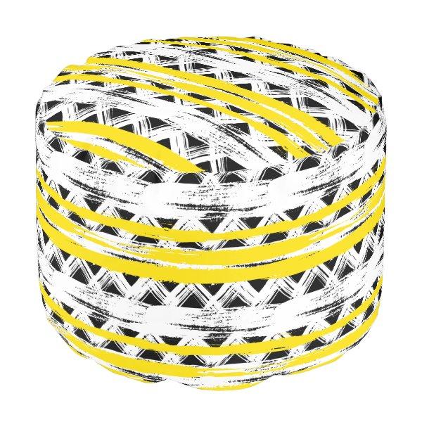 Cool Black White Yellow Stripes Tribal Pattern Pouf