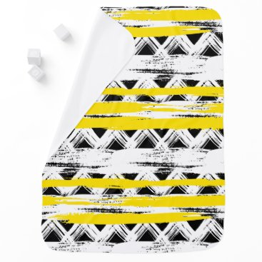 Aztec Themed Cool Black White Yellow Stripes Tribal Pattern Receiving Blanket