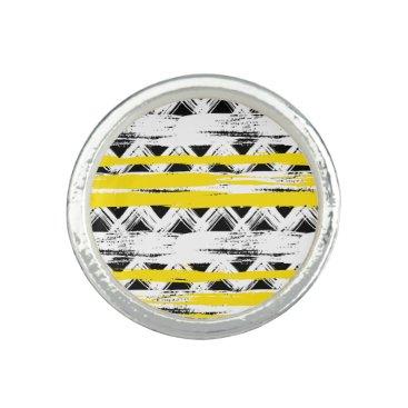 Aztec Themed Cool Black White Yellow Stripes Tribal Pattern Rings