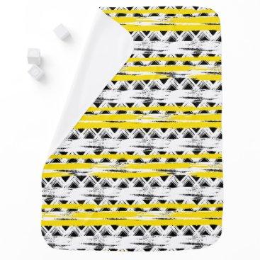 Aztec Themed Cool Black White Yellow Stripes Tribal Pattern Stroller Blanket