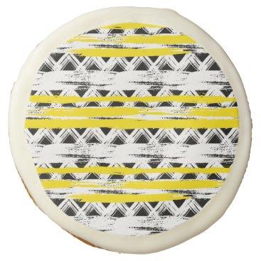 Aztec Themed Cool Black White Yellow Stripes Tribal Pattern Sugar Cookie
