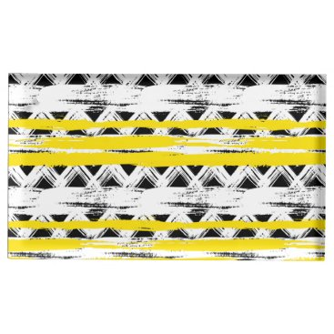 Aztec Themed Cool Black White Yellow Stripes Tribal Pattern Table Card Holder