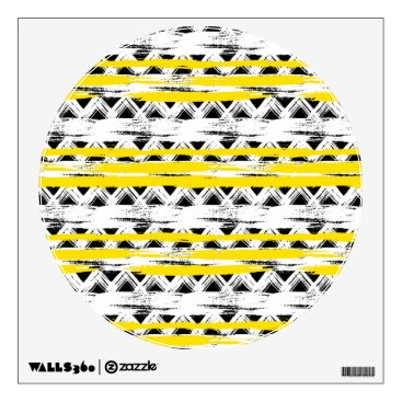 Aztec Themed Cool Black White Yellow Stripes Tribal Pattern Wall Decal