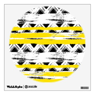 Aztec Themed Cool Black White Yellow Stripes Tribal Pattern Wall Sticker